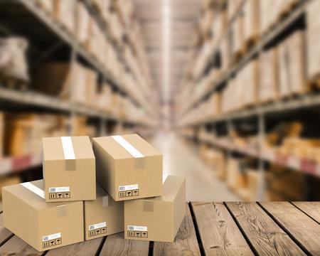 3D-rendering hoop van voorraden met warehouse onscherpe achtergrond Stockfoto