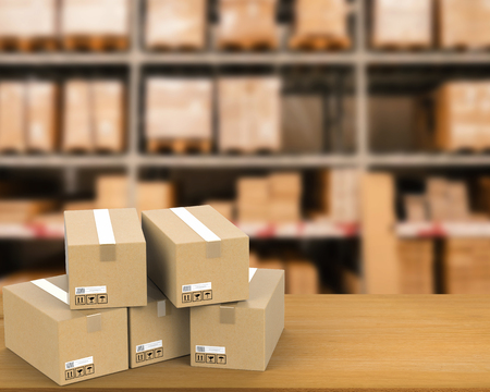 stockroom: 3d rendering heap of stockpile with warehouse blurred background Stock Photo