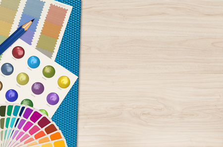 guide board: color swatch template and chart on wood background Stock Photo