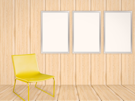 living room wall: three blank frames in living room with wooden wall