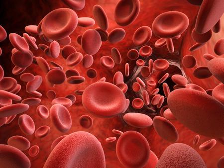 3d rendering red blood cells in vein