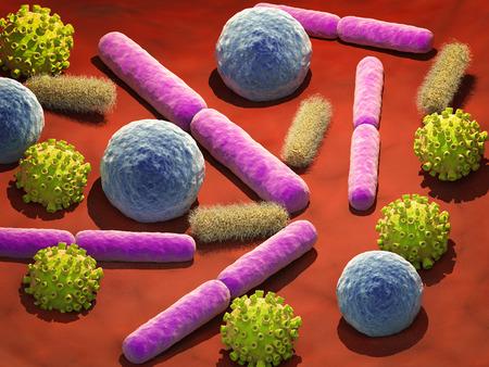 3d rendering virus and bacteria cells in vein