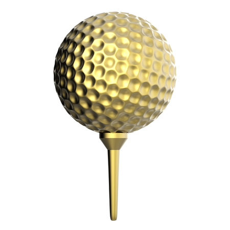 dimple: 3d rendering golden golf ball on tee isolated on white