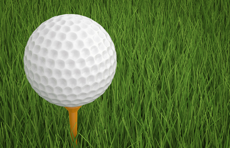 dimple: 3d rendering golf ball on tee with green grass Stock Photo