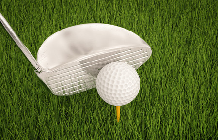 dimple: 3d rendering golf club with golf ball on tee