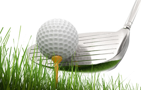 3d rendering golf club with golf ball on tee