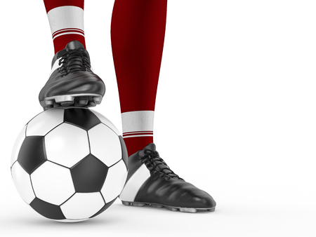 3d rendering soccer player standing with soccer ball Stock Photo