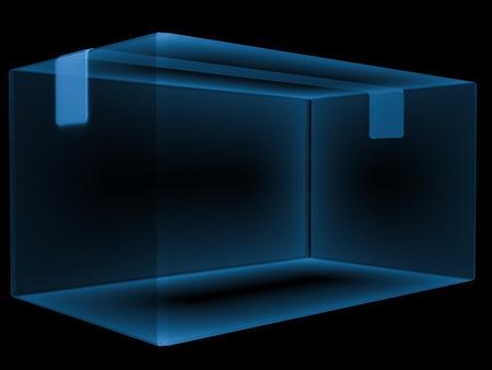 carton box: 3d rendering x ray carton box isolated on black