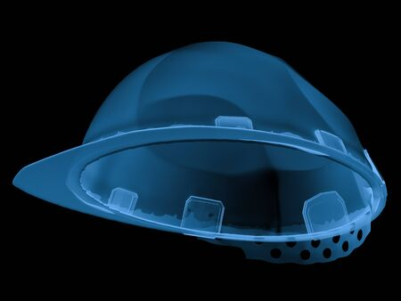 3d rendering x ray safety helmet isolated on black Stock Photo