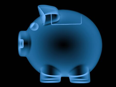animals x ray: 3d rendering x ray piggy bank isolated on black