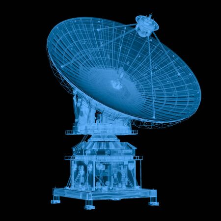 3d rendering x ray satellite isolated on black 版權商用圖片