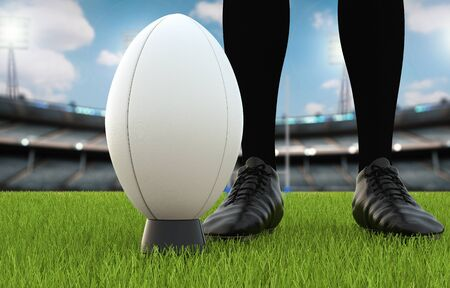 3d rendering rugby ball with rugby posts on field Stock Photo
