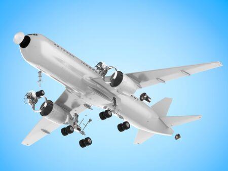3d rendering white airplane split off machine parts on white background