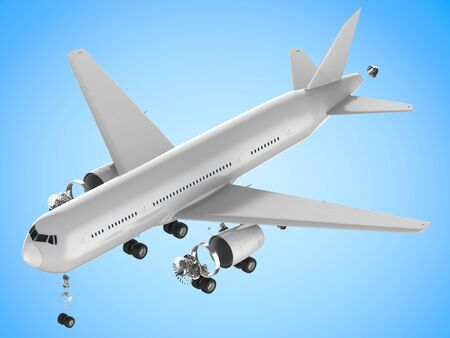 splitting up: 3d rendering white airplane split off machine parts on white background