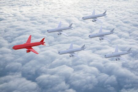 squadron: 3d rendering air squadron with red plane as leader for leadership concept Stock Photo