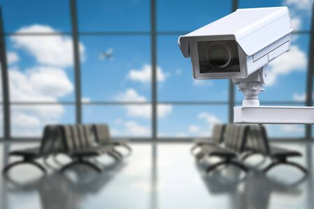 public safety: 3d rendering cctv camera or security camera in airport terminal