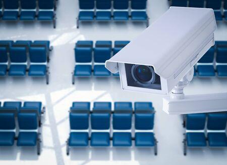 seating area: 3d rendering cctv camera or security camera in airport terminal