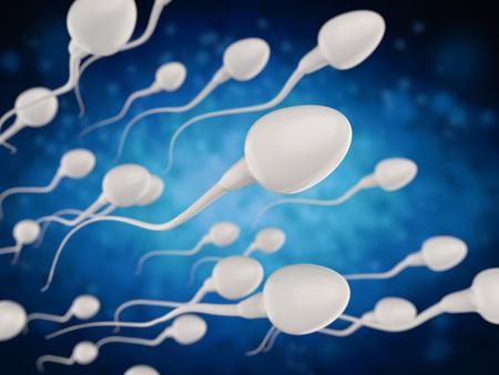 3D-rendering groep van witte spermacellen