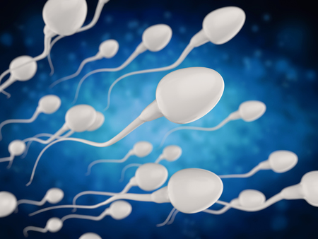 3d rendering group of white sperms