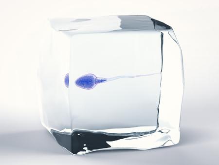 3D rendant le sperme congelé pour la banque de sperme Banque d'images - 68552727