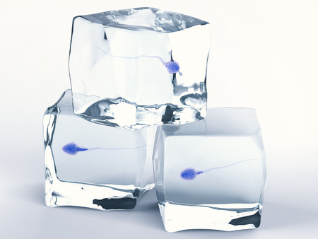 Representación 3D de esperma congelado de banco de esperma