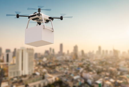 drones: 3d rendering delivery drone flying with cityscape background