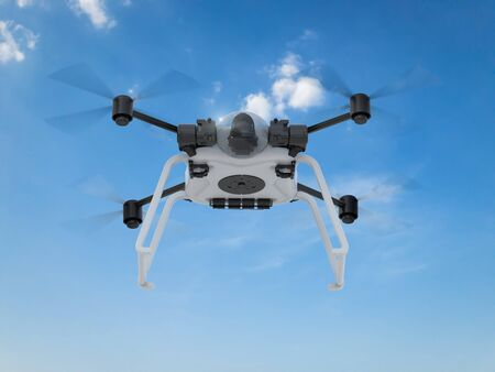 propellers: 3d rendering white drone with spinning propellers