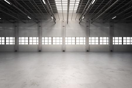 3d 렌더링 빈 공장 인테리어 또는 빈 창 고 스톡 콘텐츠
