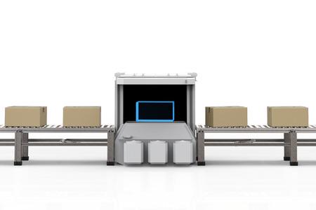 Machine de scanner de rendu 3d avec boîte en carton