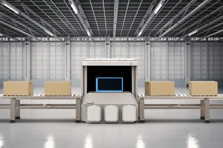 Machine de scanner de rendu 3D avec la boîte de carton dans l'usine Banque d'images