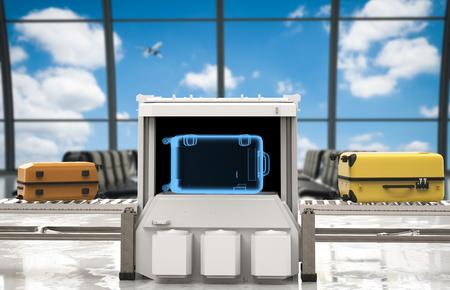 공항에서 3d 렌더링 수하물 스캐너
