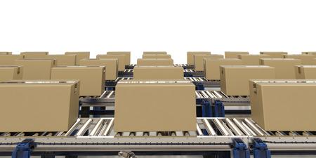 Scatole di cartone di rendering 3D sulla cinghia di trasporto Archivio Fotografico - 70119232