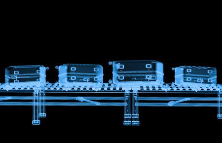Courroie de transmission à rayons X de rendu 3D avec bagages isolé sur noir