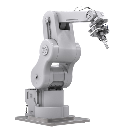 3d rendering welding robotic arm isolated on white