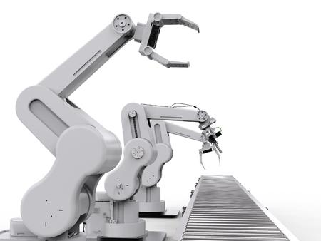 rendering: 3d rendering robotic arm with conveyor line
