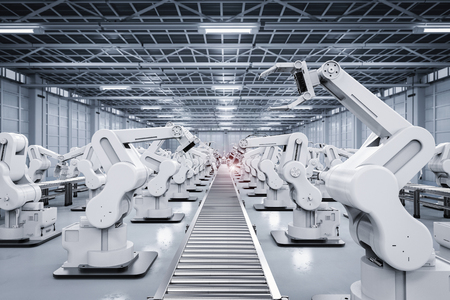 3D-Rendering-Roboterarm mit Förderleitung Standard-Bild - 70545796
