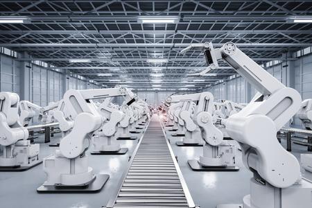 3d rendering robotic arm with conveyor line