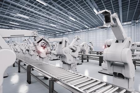 Il rendering 3d braccio robotico con linea di trasporto Archivio Fotografico - 70550236
