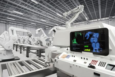 Automatiseringsindustrie met 3D-weergave monitor scherm met robot armen