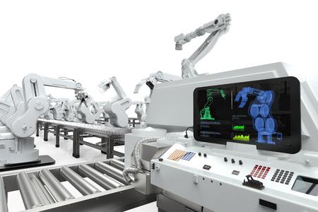 Automazione industriale con monitor 3D rendering con bracci robotici Archivio Fotografico - 70550242