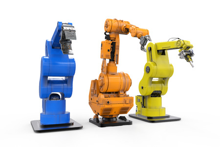 cybernetics: 3d rendering three robotic arms in a row