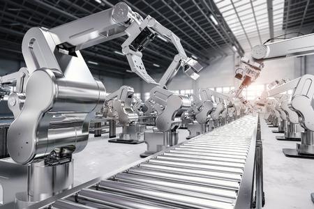 3d 렌더링 로봇 팔 컨베이어 라인
