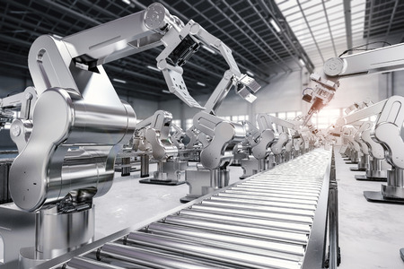 3D-rendering robotarm met transport lijn