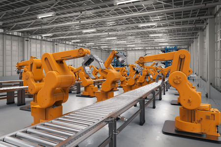 automation industry concept with 3d rendering robotic arms with conveyor lines