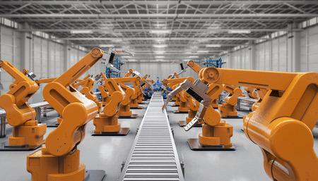 concepto de la industria de automatización con la representación 3d brazos robóticos con líneas transportadoras
