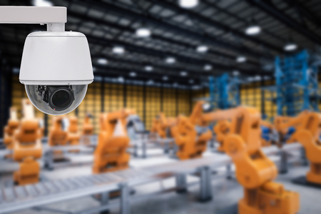 cybernetics: 3d rendering security camera or cctv camera in factory