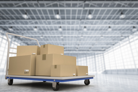 stockpile: 3d rendering warehouse trolley with heap of storage boxes Stock Photo