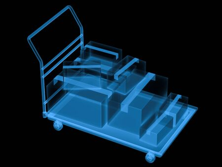 carretilla de mano: 3d rendering x ray warehouse trolley with storage boxes