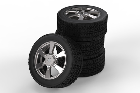 alloy wheel: 3d rendering stack of black tire with alloy wheel on white background