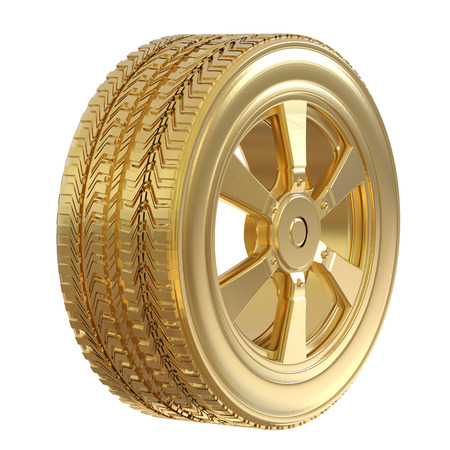 3d rendering gold tire with gold wheel isolated on white